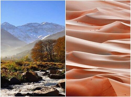 atlas mountains and sahara desert