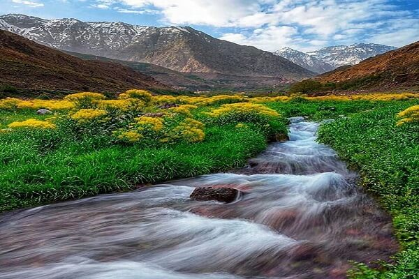 river with water in high atlas mountains