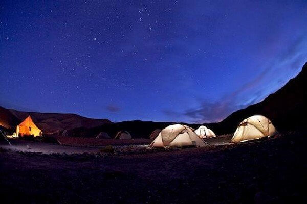 tents and light inside with stars