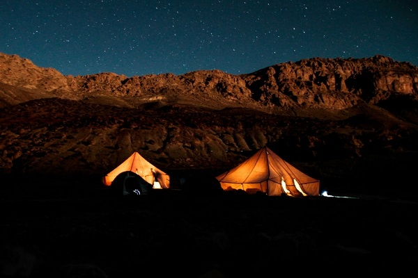 a night shot with stars for a tent in high atlas