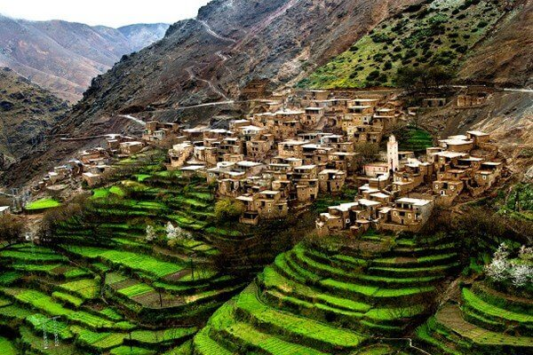 green valley in atlas mountains