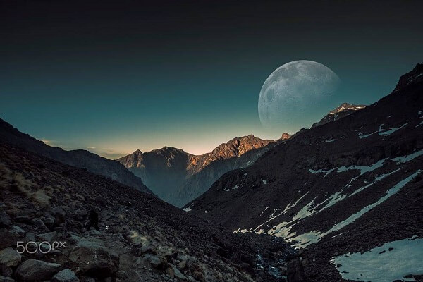 moon over atlas mountains