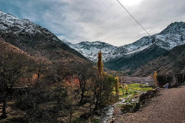 mount toubkal covered with snow from imlil