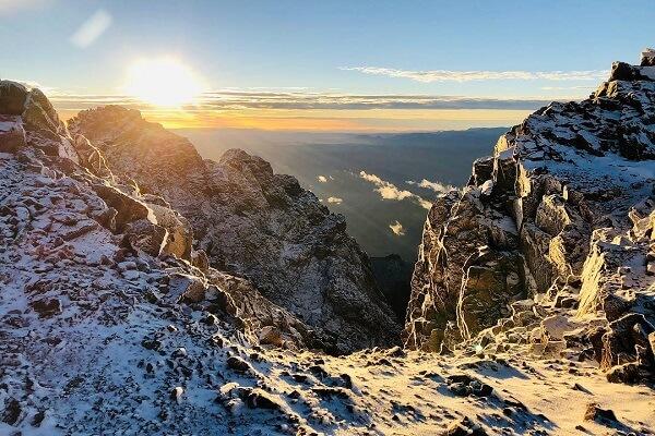 sunrise inpeak of mountain