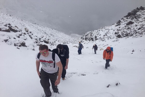 people walking in snow in atlas mountains