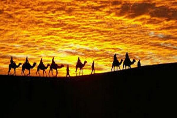 sunset and camel ride in sahara