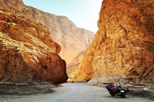 gorges in mountains and moto bike